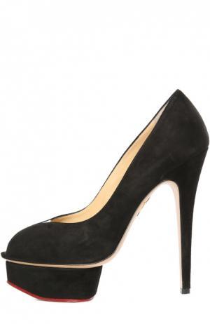 Замшевые туфли Daphne с открытым мысом Charlotte Olympia. Цвет: черный