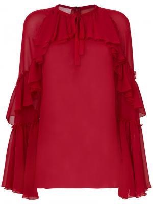 Блузка с оборками Giamba. Цвет: красный