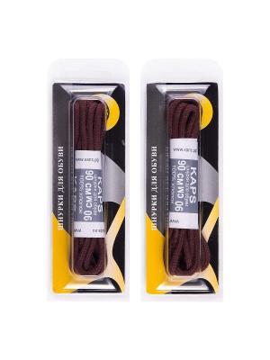 Шнурки вощеные средние 90 см. 2 пары KAPS. Цвет: коричневый
