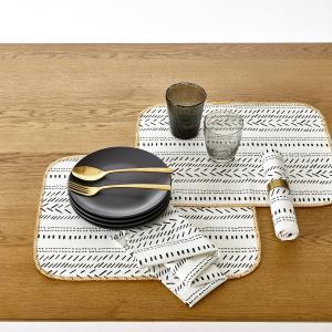 2 подложки под столовые приборы с рисунком, MALOJA La Redoute Interieurs. Цвет: белый/черный