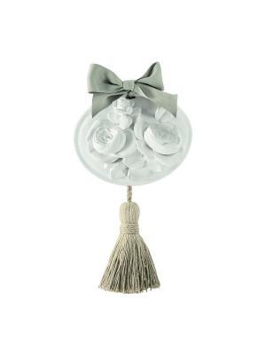 Медальон ароматический гипсовый с кисточкой 15,5 х 25,5 см Розы, аромат Античная Роза Mathilde M. Цвет: белый