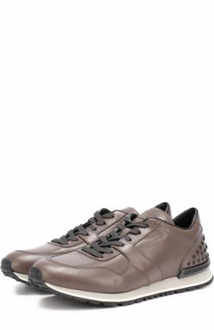 Кожаные кроссовки на шнуровке Tod's. Цвет: серый
