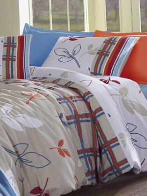 Комплект постельного белья Фани Тет-а-Тет. Цвет: бежевый, красный, синий