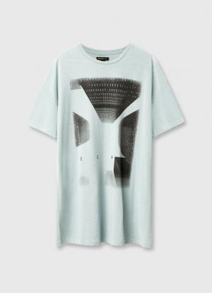 Удлинённая футболка с принтом OSTIN. Цвет: светло-ментоловый