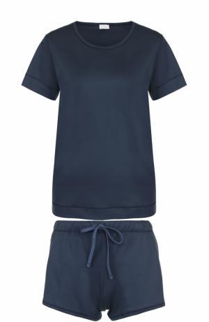 Хлопковая пижама с мини-шортами и футболкой Zimmerli. Цвет: темно-синий