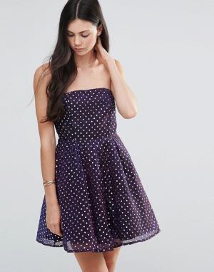 Pixie & Diamond Приталенное платье-бандо в горошек. Цвет: фиолетовый