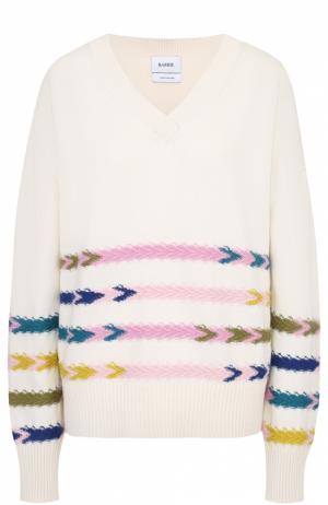 Кашемировый пуловер с V-образным вырезом и контрастной отделкой Barrie. Цвет: белый