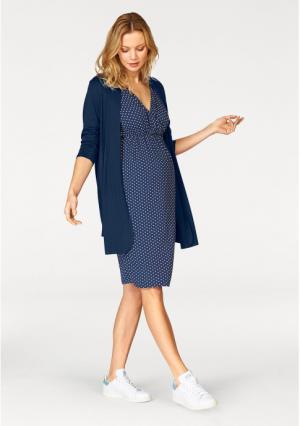 Комплект: платье + кардиган Neun Monate. Цвет: синий с рисунком+синий