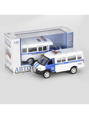 Машинка металлическая инерц.  Полиция 1:50, открываются двери в/к АВТОПАНОРАМА. Цвет: белый, черный, синий