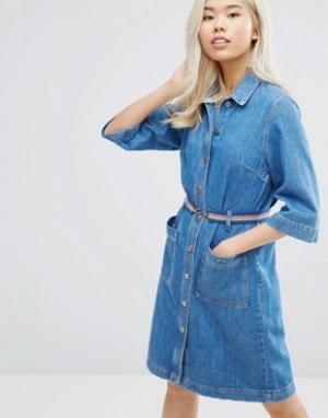 MiH Jeans Джинсовое платье на пуговицах с ремнем M.i.h Lola. Цвет: синий