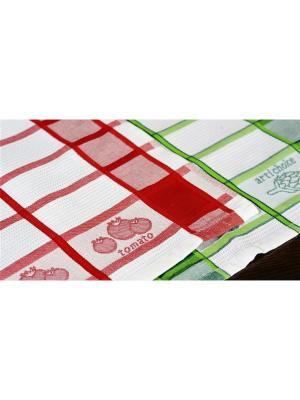 Набор кухонных полотенец  Дача (3х2шт.) 40х60 красный, зеленый TOALLA. Цвет: красный
