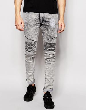 Loyalty & Faith Байкерские джинсы с эффектом кислотной стирки. Цвет: серый