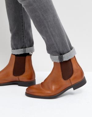 Dune Светло-коричневые кожаные ботинки челси. Цвет: рыжий