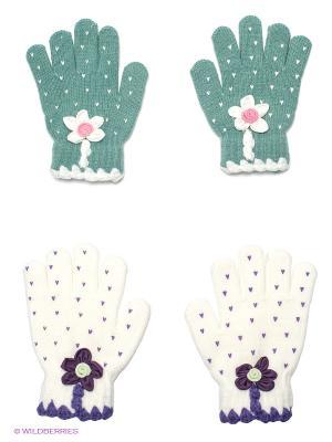 Перчатки, 2 пары FOMAS. Цвет: серо-голубой, белый