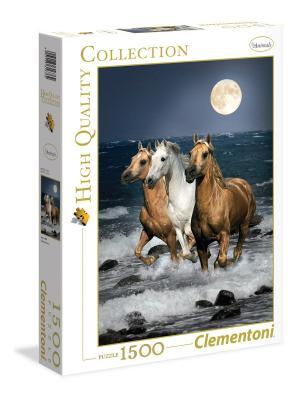 Итальянский пазл Clementoni. Серия High Quality Дикие  лошади в полнолуние. Clementoni. Цвет: белый, красный, синий