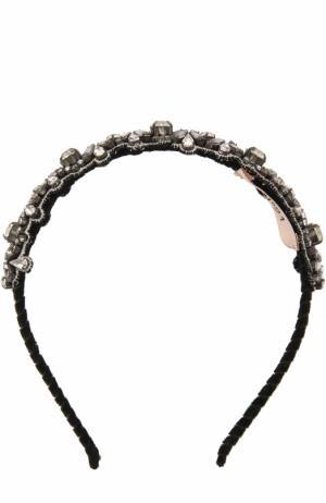 Ободок с декором из страз и кристаллов No. 21. Цвет: серебряный