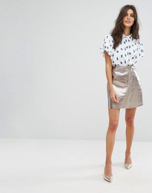 Suncoo Мини-юбка металлик с молнией. Цвет: серебряный