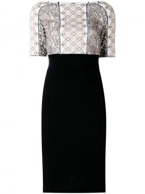 Lace appliqué fitted dress Talbot Runhof. Цвет: белый
