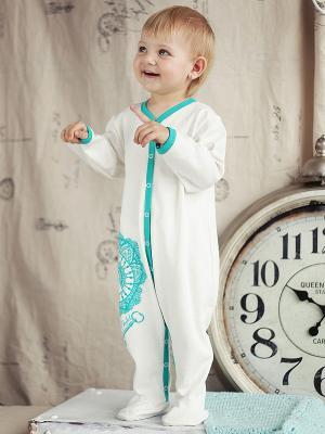 Комбинезон Lucky Child. Цвет: белый, бирюзовый