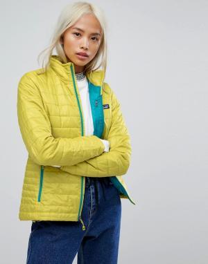 Patagonia Зеленая дутая куртка Nano. Цвет: зеленый