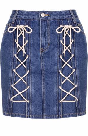 Джинсовая мини-юбка со шнуровкой Steve J & Yoni P. Цвет: голубой