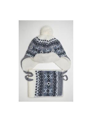 Шапка, шарф Tricotier. Цвет: белый, серый