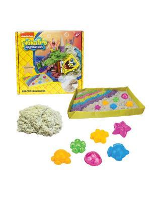 Губка Боб, космический песок, классический, 1 кг, набор песочница и формочки 1toy песок. Цвет: белый