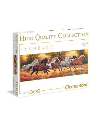 Clementoni. Пазл Бегущие лошади. Серия Панорама. 1000 элементов. Clementoni. Цвет: коричневый, желтый, белый