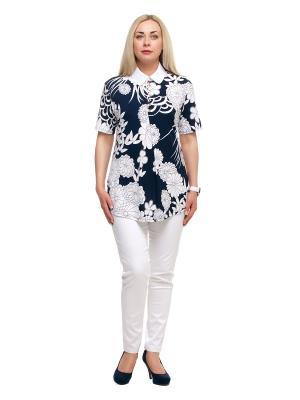 Блузка OLSI. Цвет: темно-синий, белый