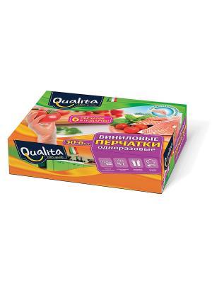 Перчатки виниловые 36шт в коробке QUALITA. Цвет: белый