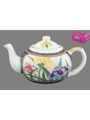 Чайник с металлическим ситом Ирисы Elan Gallery. Цвет: белый, синий, зеленый, фиолетовый, золотистый, желтый