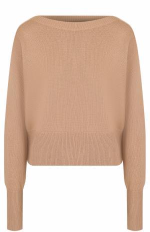 Кашемировый пуловер с вырезом-лодочка Theory. Цвет: бежевый