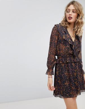 Maison Scotch Платье с оборками и эластичной талией. Цвет: мульти
