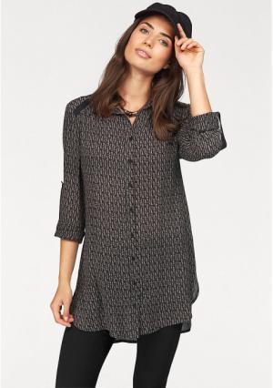 Удлиненная блузка BOYSENS BOYSEN'S. Цвет: черный/бежевый