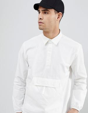 Penfield Белая рубашка без застежки с карманом-кенгуру. Цвет: белый