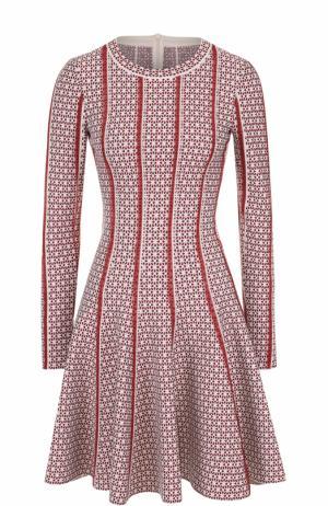 Приталенное мини-платье с длинным рукавом и принтом Alaia. Цвет: красный