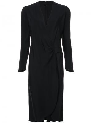 Платье с запахом и длинными рукавами Peter Cohen. Цвет: чёрный
