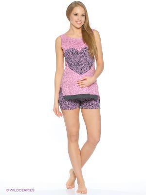 Пижама для беременных (майка+шорты) Hunny Mammy. Цвет: розовый