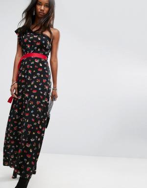 ASOS Чайное платье макси на одно плечо с цветочным принтом и поясом в рубчи. Цвет: мульти