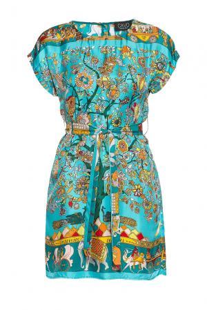 Платье из шелка с поясом 177232 Cavo. Цвет: разноцветный