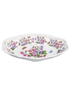 Блюдо универсальное Душистый горошек Elan Gallery. Цвет: розовый, зеленый, фиолетовый