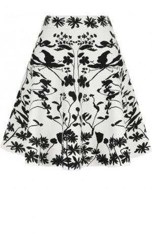Вязаная мини-юбка с широким поясом и принтом Alexander McQueen. Цвет: черно-белый