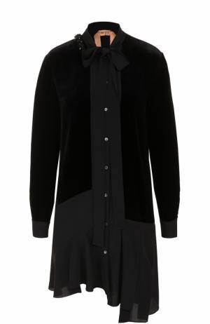 Платье-рубашка асимметричного кроя с воротником аскот No. 21. Цвет: черный