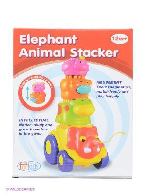 Каталка Веселые слоники Toy Target. Цвет: желтый, оранжевый, розовый