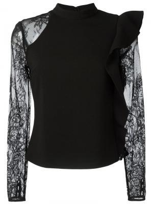 Прозрачная блузка с асимметричными рюшами Self-Portrait. Цвет: чёрный