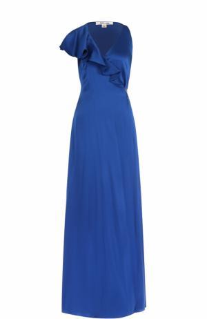 Платье-макси с поясом и оборками Diane Von Furstenberg. Цвет: синий