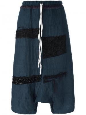 Укороченные брюки с заниженной шаговой линией By Walid. Цвет: синий