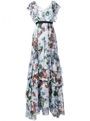 Длинное платье с рюшами Erdem. Цвет: белый