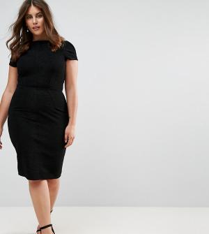 Closet London Plus Плиссированное структурированное платье-футляр. Цвет: черный