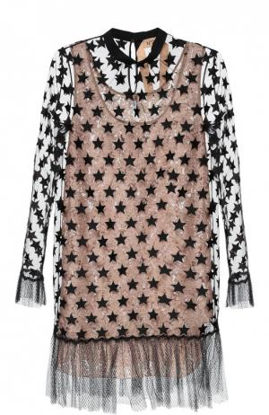 Полупрозрачное платье с отделкой в виде звезд No. 21. Цвет: черный